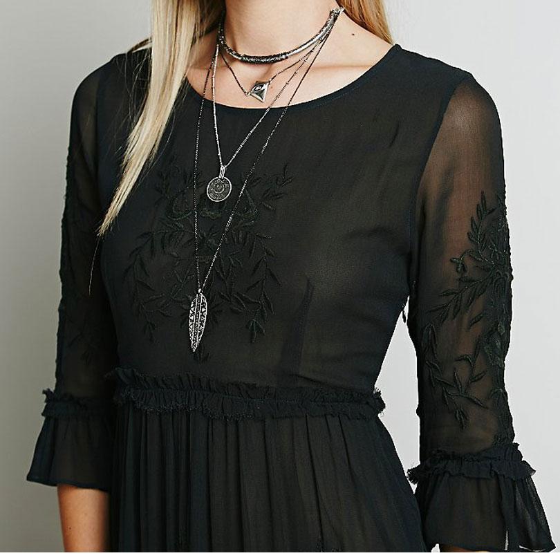 Luckeytimes Bohemia Vezenje Bijela haljina Žene Crne ogrlice - Ženska odjeća - Foto 5