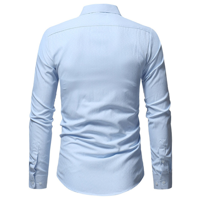 New Men Spring Autumn Casual Cotton Blend Shirt Fashion Solid Color Male Casual Long Sleeve Turn Down Collar ShirtT Shirt Men 2