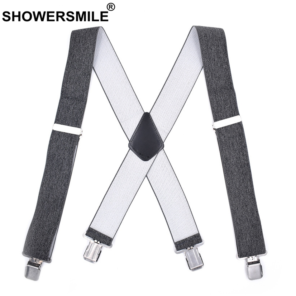 SHOWERSMILE Adult Suspenders Wide 5cm X Back Grey Mens Braces For Trousers Male 4 Clips Elastic Adjustable Suspender Belt 120cm