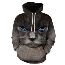 Tracksuit Tops 3D Sweatshirt Men/Women Black Cat Hooded Hoodies Casual Long Sleeve