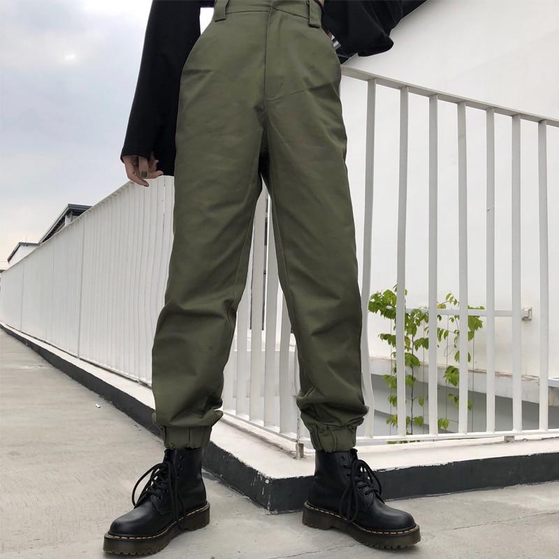 New Fashion High waist   pants   loose joggers women army harem camo   pants   streetwear punk black cargo   pants   women   capris   trousers