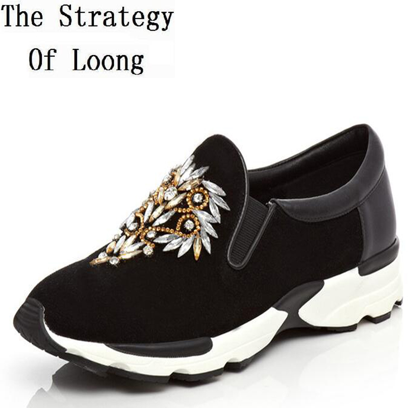 Women Spring Autumn Genuine Leather Flats Rhinestone Round Toe Fashion Casual Outdoor Shoes Size 34-39 SXQ1012 цены онлайн