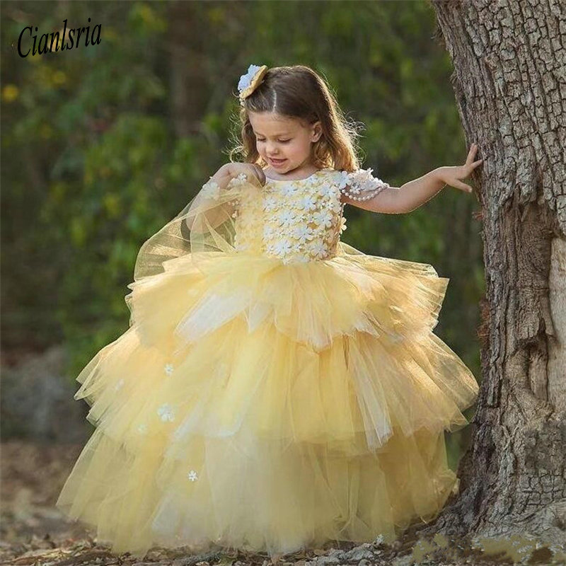 Yellow Tiered Ball Gowns For Princess   Flower     Girl     Dress   with Handmade   Flower   Appliques Pearls Open Back Custom Pageant Gown
