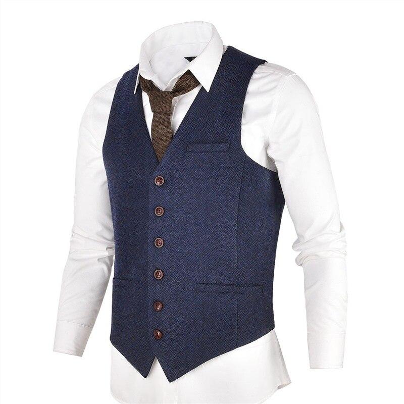 VOBOOM Navy Blue Slim Fit Wool Blend Suit Vest Men Herringbone Waistcoat in Tweed 007
