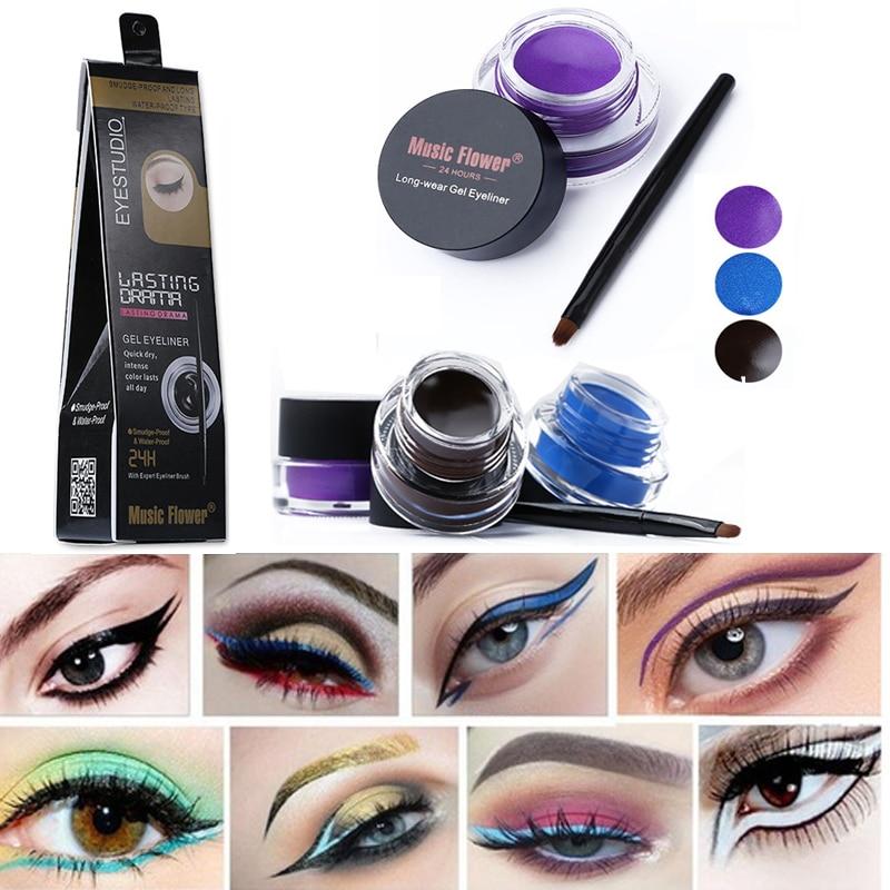 Waterproof Eye Shadow Gel Blue Makeup With Brush Party Makeup Cosmetic 24 Hours Long-lasting For Women Eyes Liner