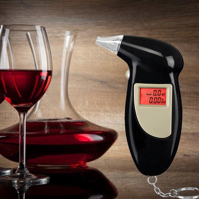 Digital LCD Alcohol Breath Analyzer Breathalyzer Tester Keychain Audible Alert Car Detector...