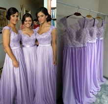 Real Photo Lace Elegant Long Bridesmaid Dresses Belt Cap Sleeves Chiffon Floor Length vestidos de festa