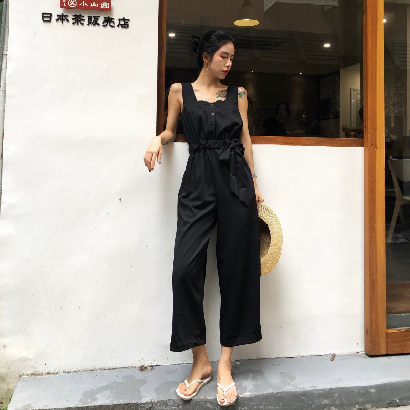 HziriP Sexy Jumpsuit Women Romper 2018 Summer Loose Solid Elegant Party Square Neck Sexy Playsuits Sleeveless Long Pant Overalls 3