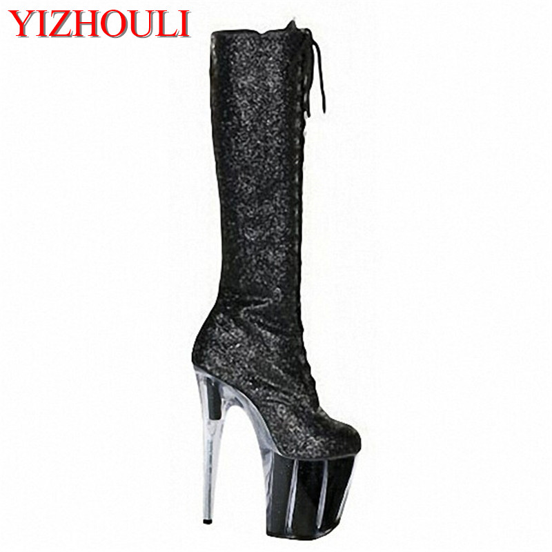 Sexy flash powder with a strong black eye and high heels, with the top of the boot, 20 cm, Dance Shoes