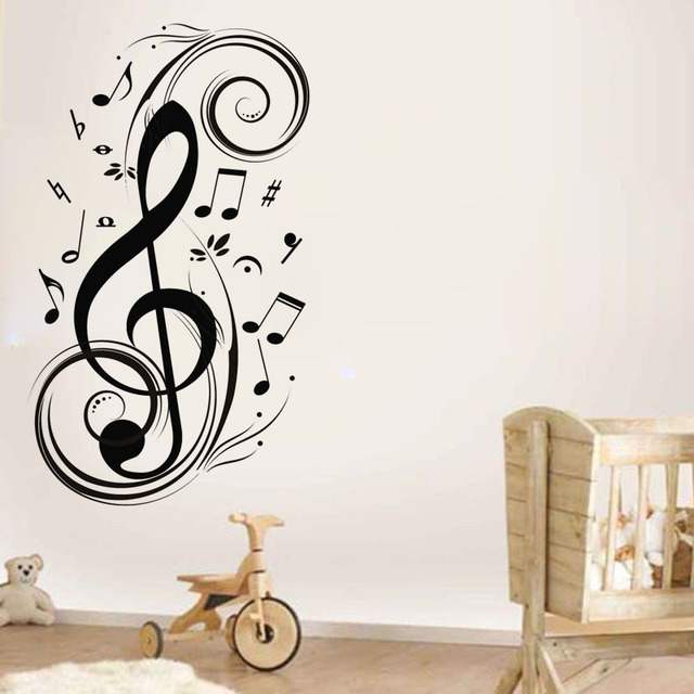 Musical Notes Vinyl Wall Sticker Removable Music Wall Art Decal For ...