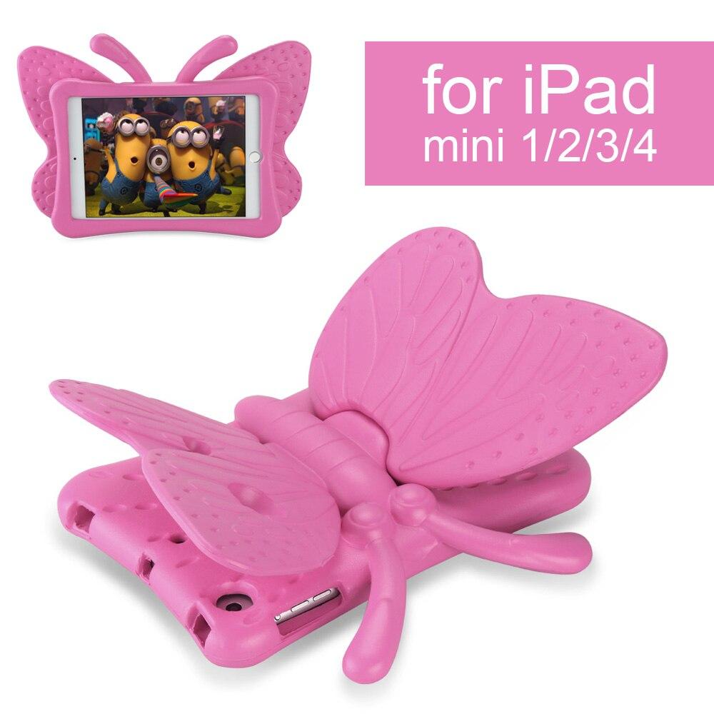 Boîtier antichoc pour iPad Mini 1 2 3 4 Dessin Animé 3D Papillon Table de Support pour Nouvel iPad 2017 Enfants coffre-fort
