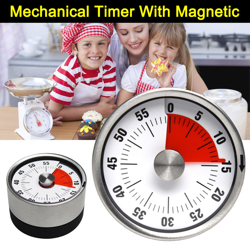 Kitchen Timer Magnet Round Shape Stainless Steel Mechanical Cooking Clock Time Reminder Hot Sale in Kitchen Timers from Home Garden