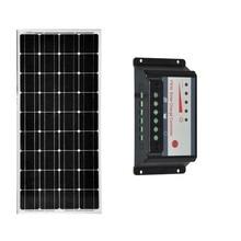 Kit Solar Panel 12v 100w Monocrystalline Solar Battery Charger Solar Charge Controller 12v/24v 30A PWM USB Motorhome Caravan Car solar panels battery charge controller 12v 24v pwm ls3024b 30amp 30a with mt50 bluetooth function