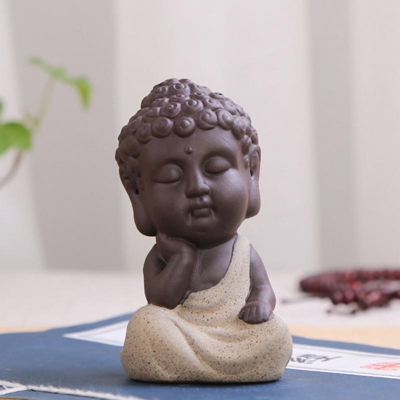 1 Stks Boeddhisme Little Meditatie Monnik Kleine Standbeelden Miniatuur Craft Boeddhabeelden Klei Mini Chinese Boeddhisme Zen Monniken Aangenaam In De Nasmaak