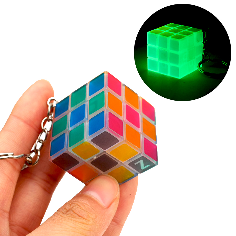 Mini Magic Cube Keychain Glow In The Dark Transparent Pocket Cube 3x3x3 Luminous Small 3x3 Puzzle Cube Key Chain Cubes For Kids