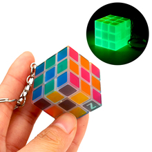 Mini Magic Cube Keychain Glow In The Dark Transparent Pocket Cube 3x3x3 Luminous Small 3x3 Puzzle Cube Key Chain Cubes For Kids mini finger magic cube key chain