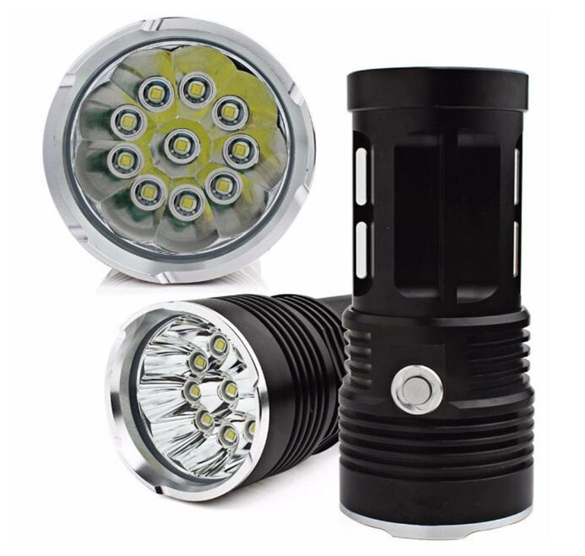 LumiParty Small Single Flashlight 10x Cree XML T6 LED Flashlight Black Use 18650 Battery for Camping Hiking Lighting jk35