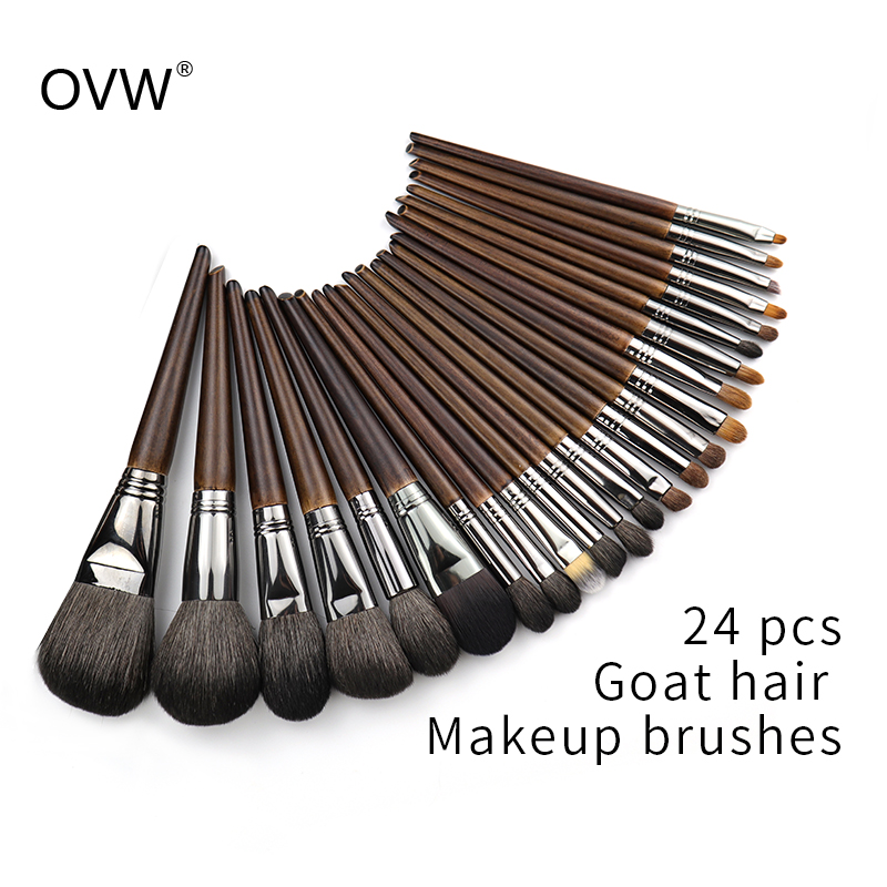 OVW Natural Goat Hair Makeup Brushes Set Professional Kit Brocha Maquillaje Pedzle Do Makijazu Blending Smudging Brush Shader