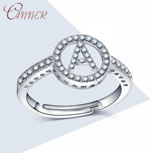 CANNER Initial Letter Rings for Women Jewelry A-Z 26 Letters Resizable Wedding Personality CZ Crystal Engagement Ring Gift