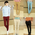 Корейский стиль Slim Fit Модные Брюки Мужчины брюки красочные хлопок смесь красного вина, бежевый, черный, небо Бесплатная Доставка