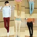 Estilo coreano Slim Fit Pantalones Hombres pantalones de vestir de Moda colorida mezcla de algodón rojo de vino, beige, negro, sky Envío Gratis