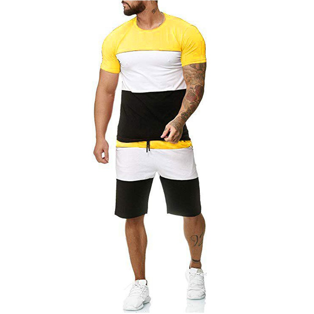 WOMAIL Daily Sport Summer Mens 2 Piece Outfit Sport Set Short Sleeve Summer Leisure Casual Dark Yellow Short Thin Sets W30501