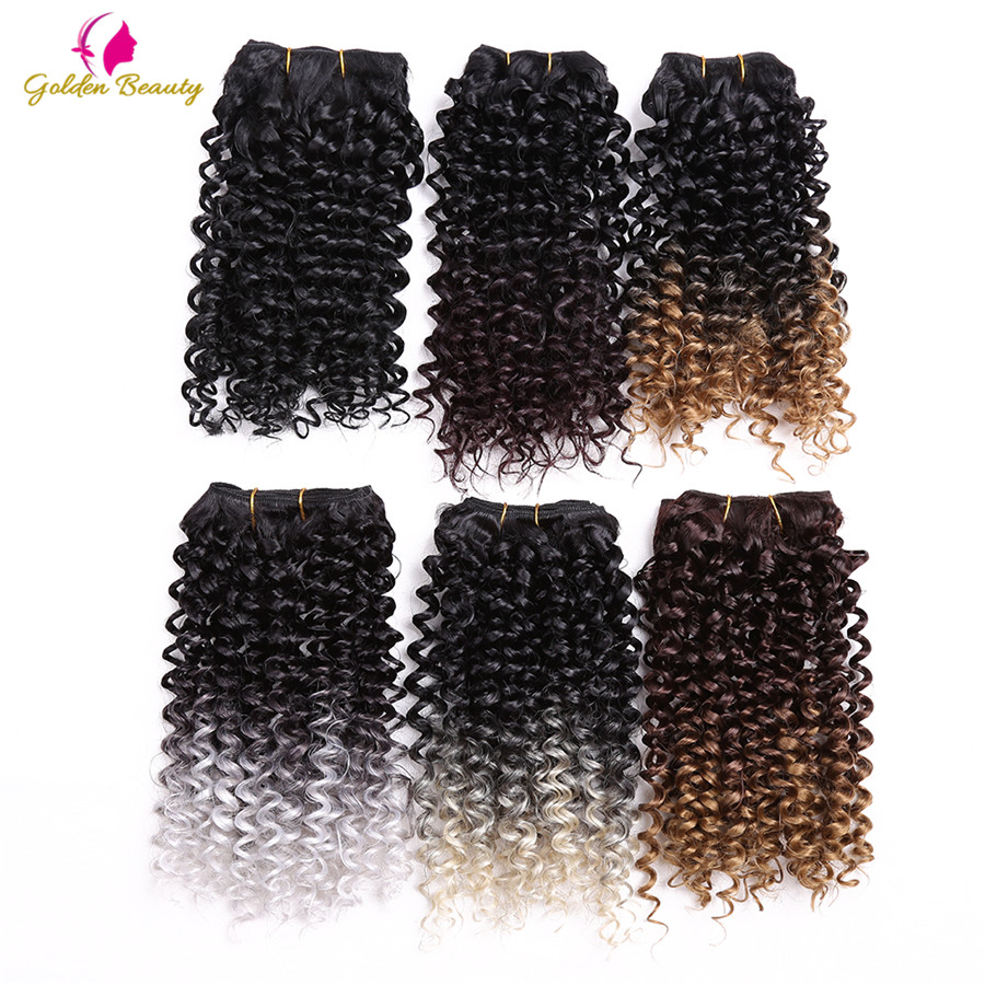 Sew-In Hair-Extensions Weave Synthetic-Hair Curly-Sew Jerry Wefts Ombre Women for Golden-Beauty