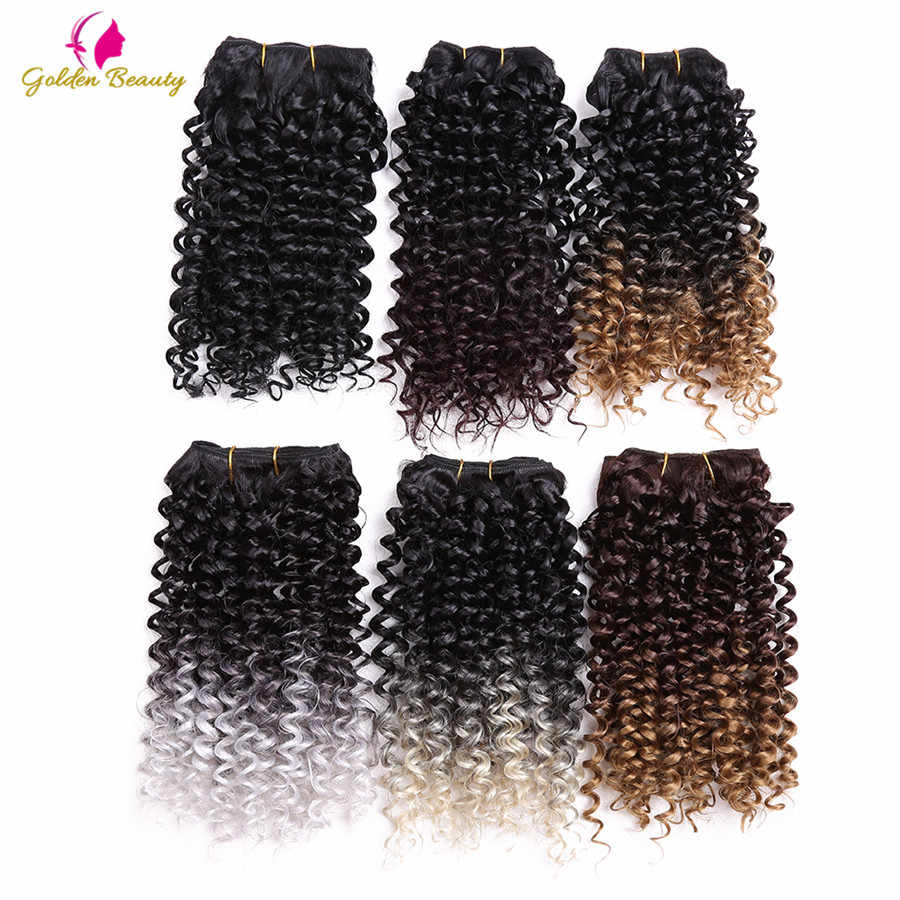 Golden Beauty 1pcs/pack 14inch Jerry Curly Sew In Weave Synthetic Hair Wefts Sew in Hair Extensions Ombre for Women