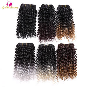 Sew-In Wefts Hair-Extensions Weave Synthetic-Hair Curly-Sew Jerry Golden-Beauty Ombre