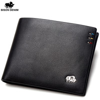 BISON DENIM Business Casual Wallet Men Top Layer Geneine Leather Purses Men Short Wallets Silver Metal