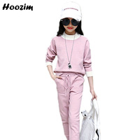 Winter Thick Warm Suit For Girls 10 11 12 Years Fashion Pink Knitted Sweater + Crochet Pants Children Autumn Girls Clothing Set