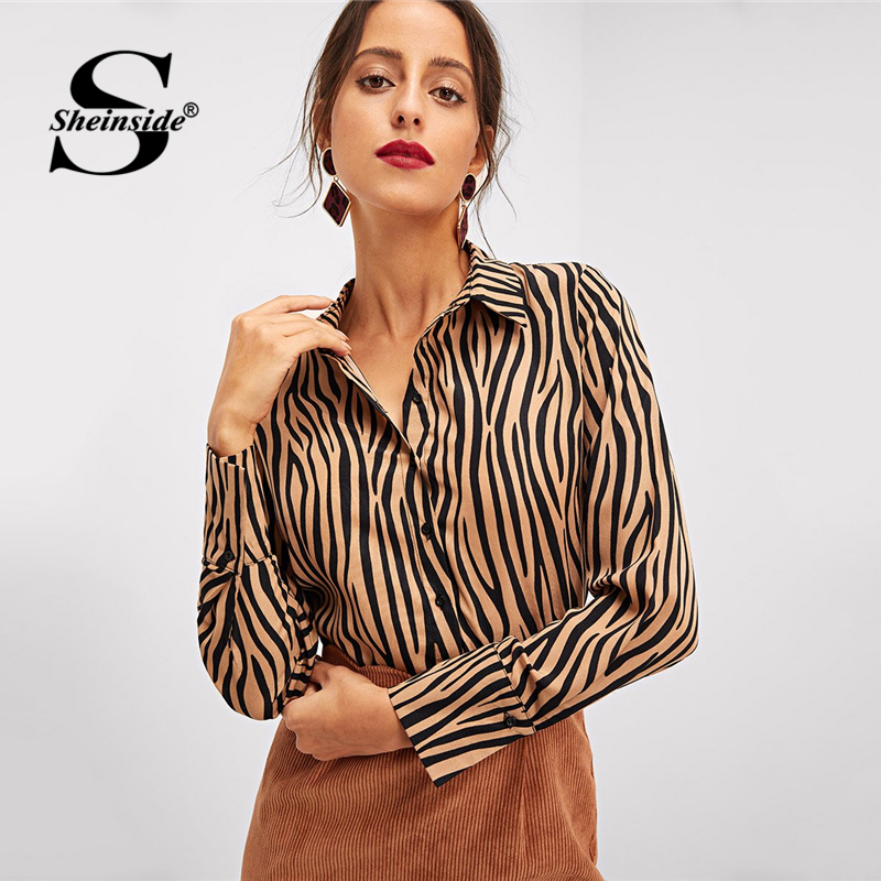Sheinside Office Ladies Button Up Dip Hem   Shirts   Women Animal Print Long Sleeve   Blouse     Shirt   2018 Autumn Womens Tops And   Blouses