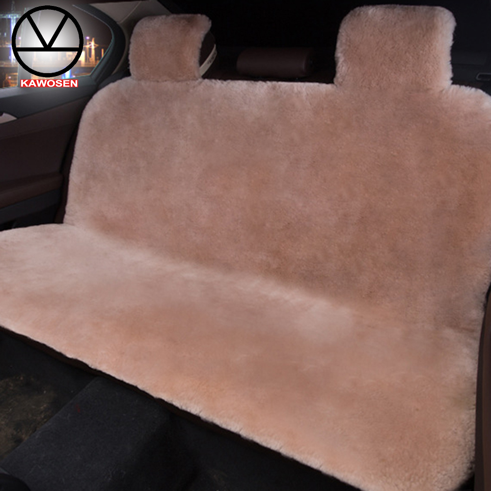 KAWOSEN Australian Sheepskin Fur Rear Seat Cover, Warm Universal Car Seat Cover, 100% Wool Car Seat Covers Auto Cushion WRSP01 1 pc australian natural woolen winter warm fur car front single seat cover sheepskin for all cars