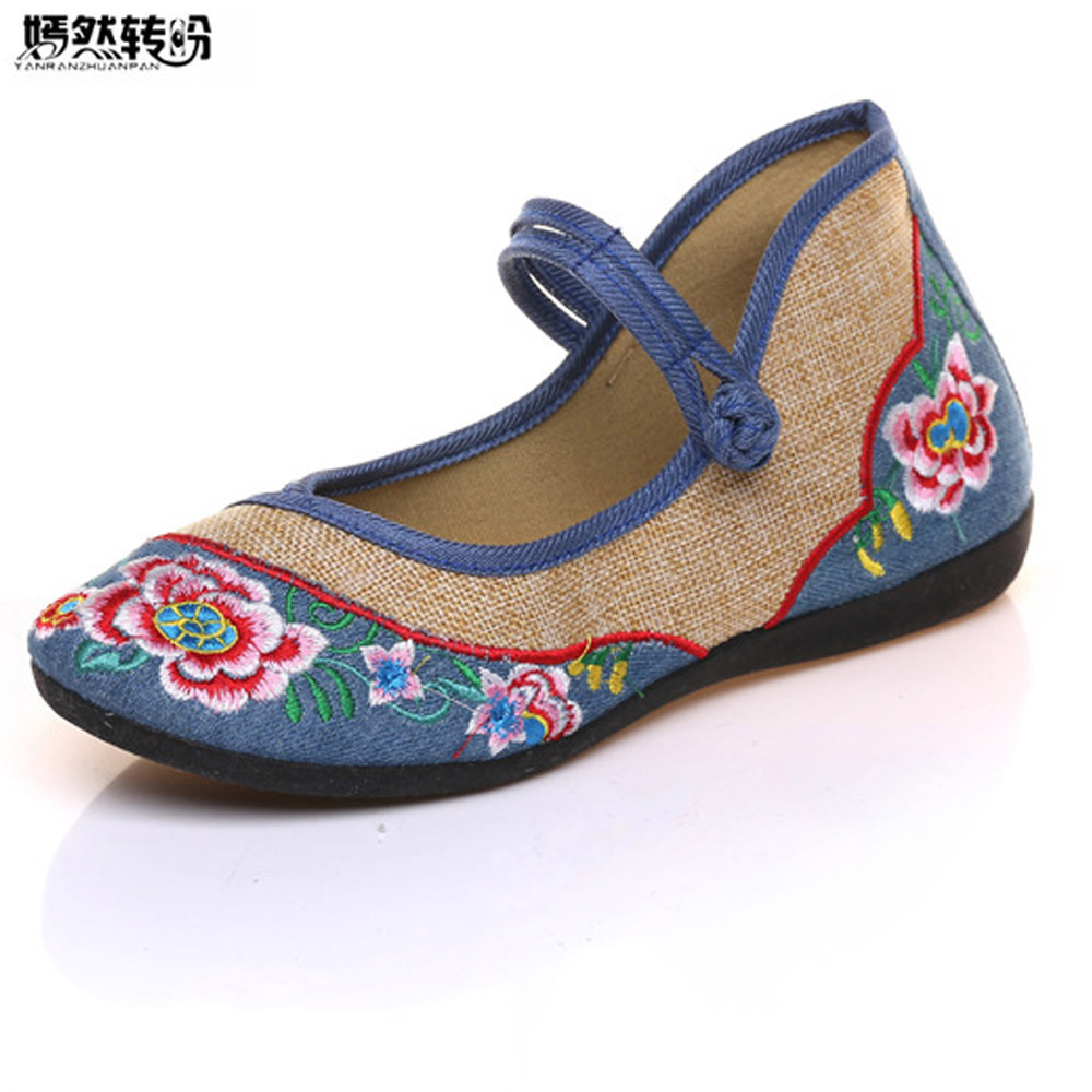 2018 Spring New Women Flat Shoes Old Beijing Canvas Soft Casual Floral Embroidery Linen Singles Shoes Woman Sapato Feminino wegogo canvas women casual shoes embroidery national casual flat shoe embroidered travel shoes flats sapato feminino bordado
