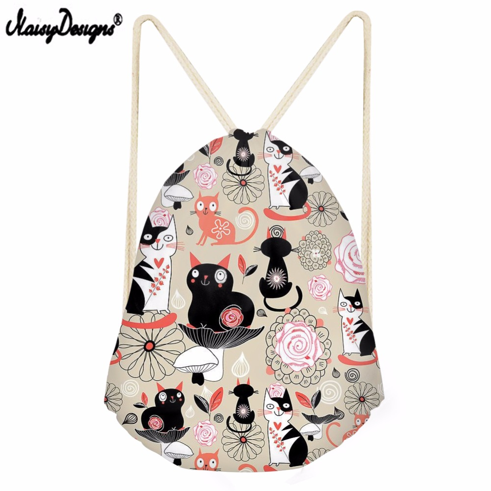 Noisydesigns Drawstring Bag Cat Pattern Travel Sport Bags Summer Cool Print Small Backpack For Teenager Boy Girls Soft Backpack