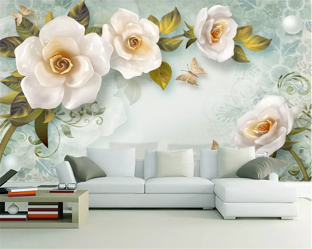 beibehang Custom size 3D three dimensional relief rose European retro background decorative painting papel de parede wallpaper in Wallpapers from Home Improvement