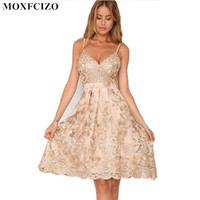 Sexy Off Shoulder Flowers Gold Wire Embroidery Dress Women Summer Casual Backless Spaghetti Cami Women Dresses