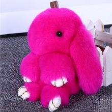 18CM Cute Fluffy Bunny Keychain Rex Rabbit Fur Pompoms Key Chain Fur Pom Pom Keyring for Women Bag Charm Car Pendant Key Ring