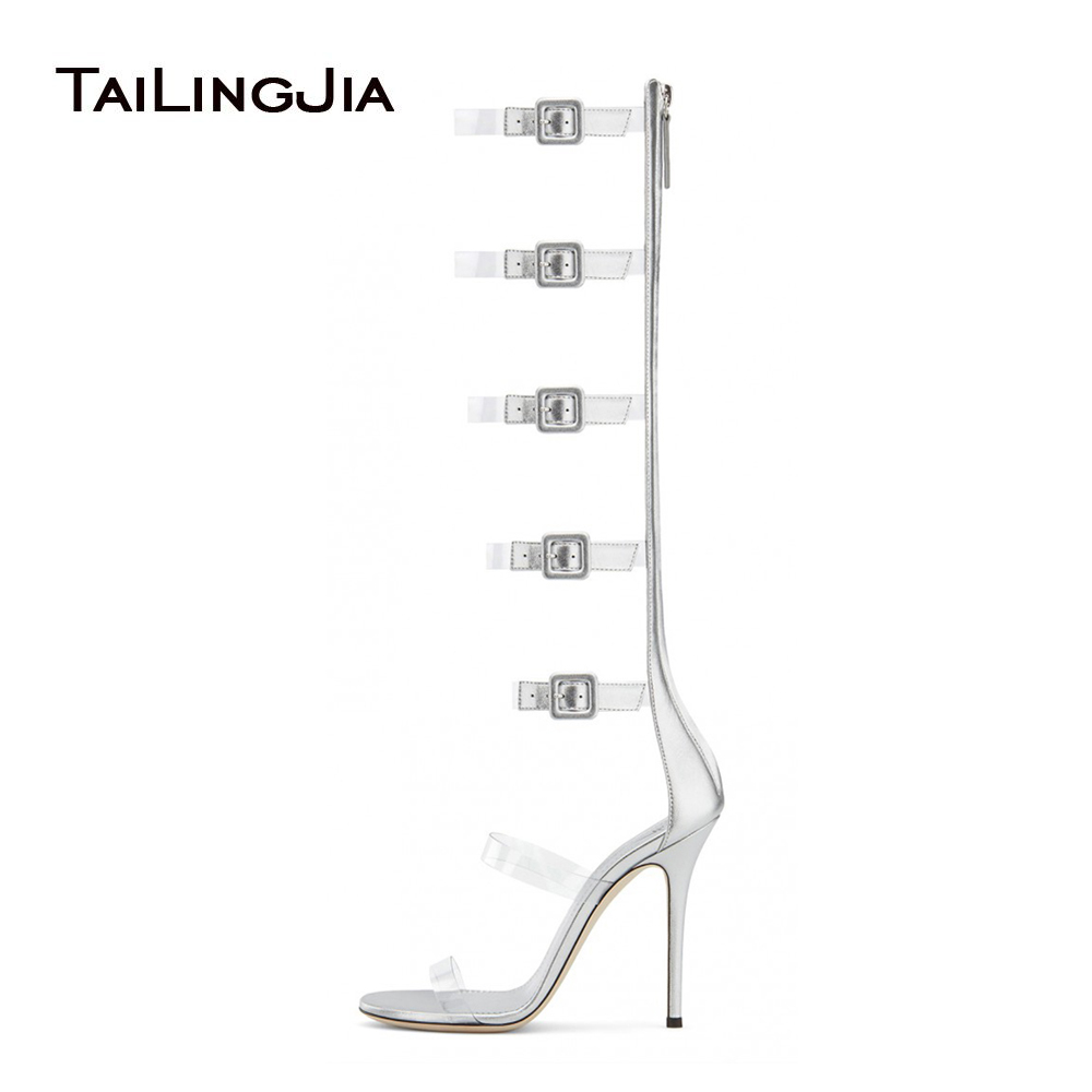 Women Clear Gladiator Boots Latest Ladies Heeled Summer Transparent Shoes Stiletto Heels Sexy High Heel Sliver Strappy Sandals
