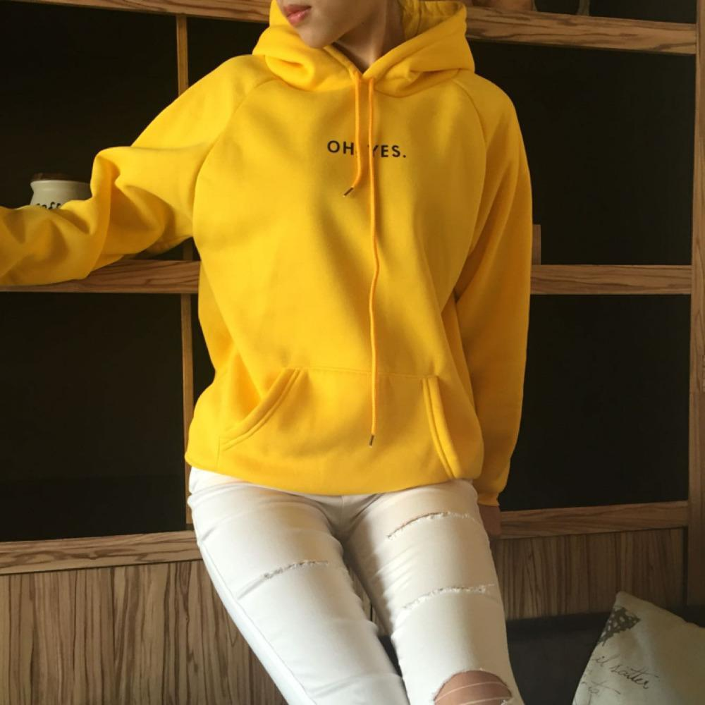 Woman Sweater Tops Pullovers Light Letter Long-Sleeves Harajuku Yellow Fashion O-Neck