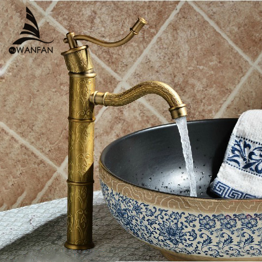 Basin Faucets Antique Brass Deck Mounted Bathroom Sink Faucet Single Lever Retro Toilet Vessel Mixer Water Tap WC Cock 6600KH black oil rubbed dolphin model style bathroom basin mixer tap single hole deck mounted dual handles vessel sink faucets wnf314