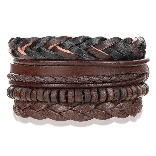 3 шт мужской кожаный браслет с якорем в стиле панк
