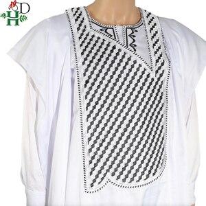 Image 4 - אין כובע אפריקאי בגדי גברים דאשיקי אב בן ילד ילדי חליפות חולצות חולצה צפצף 3 חתיכות סט רקמה לבן אפריקאי mens בגדים