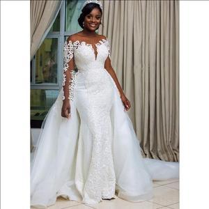Image 2 - Robe de soiree 2019 del merletto della sirena abito da sposa con staccabile pannello esterno