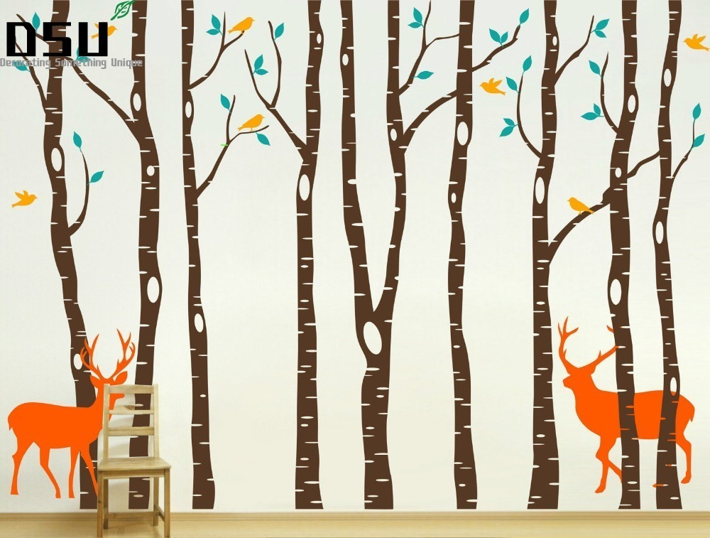 Tree Wall Decals 260x360cm Reindeer Tree Forest Birds Wall Stickers Decal Art Nursery Decor Wall Sticker for kids Room Wallpaper blue line velcro cock ring эрекционное кольцо на липучке