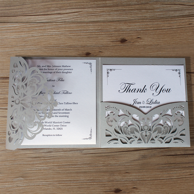 Aliexpress buy silver laser cut wedding invitations with thank silver laser cut wedding invitations with thank you cards gray pocket invitations customized invite wording filmwisefo