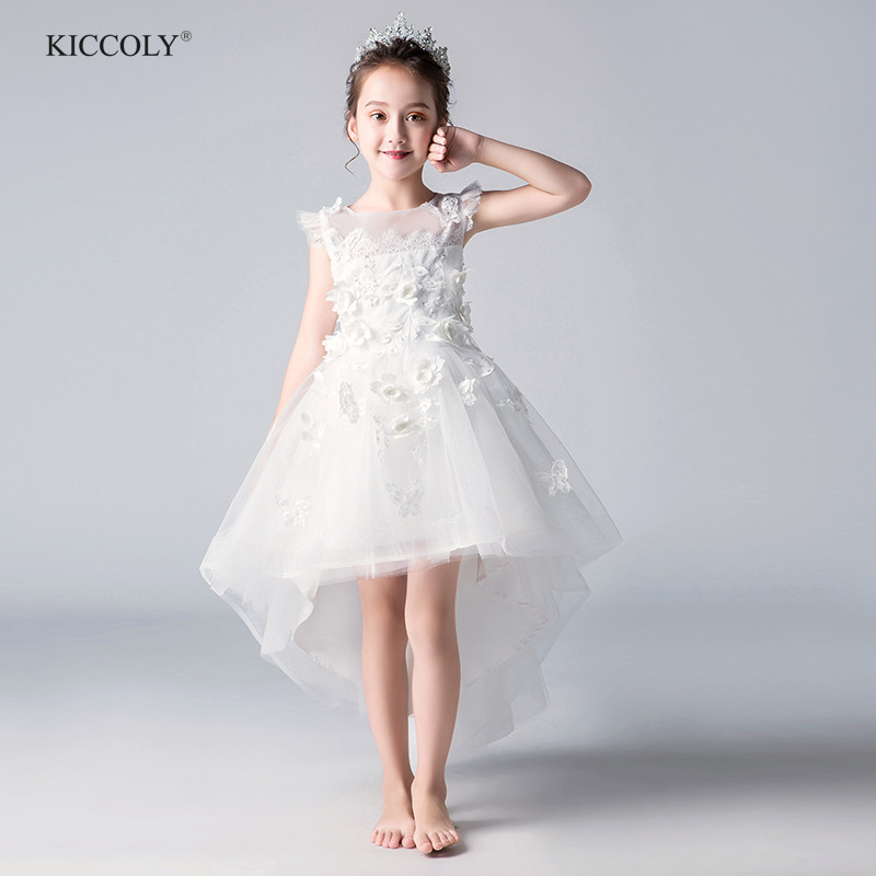 Elegant  White Tulle Floral Christmas Flower Girl Ceremony Pageant Princess Dress for Party Wedding Girls First Communion GownElegant  White Tulle Floral Christmas Flower Girl Ceremony Pageant Princess Dress for Party Wedding Girls First Communion Gown