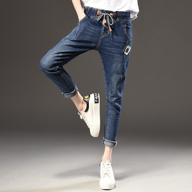 42a2e62b 2017 штаны-шаровары для женщин модные Свободные повседневные винтажные  проблемных регулярные спандекс Отбеленные джинсовые брюки женские джинсы  плюс Размеры ...