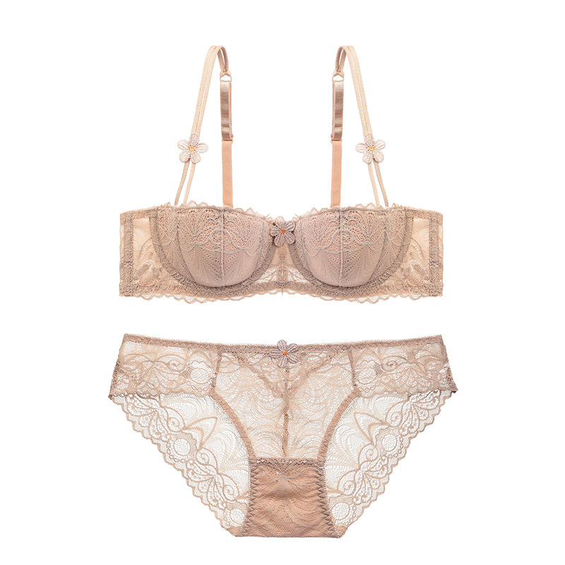 c217969b51 New Women Demi Push Up Bra Sets Fashion Cotton Thin Cup Strappy Elegent  Daisy Applique Embroided. US  18.11. France Sexy Underwear Women Push Up  Lace ...