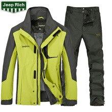 Men Ski Jacket+Pants Outdoor Sport Wear Super Warm Skiing Snowboard Suit Windproof Waterproof Camping Riding Thicken Thermal Set